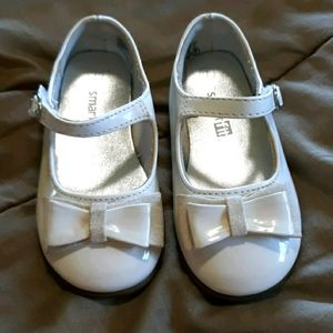 Toddler girls white dress shoes with bows